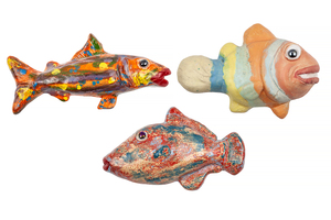 Three Tony Natsoulas Ceramic Fish