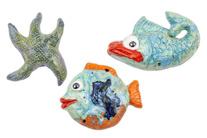 Three Tony Natsoulas Ceramic Sea Sculptures