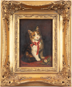 G. Roy Painting, Cat with Pink Bow
