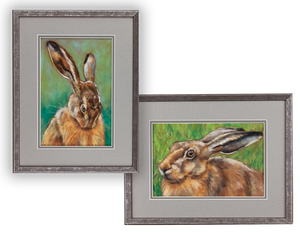 Two Belinda Elliott Pastels, Rabbits