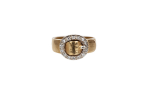 Italian Diamond 18k Buckle Ring