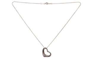 Tiffany Sterling Silver Heart Pendant and Necklace, 9.3 grams