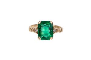 Green Glass 14k Ring