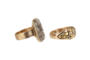 Two Gold Quartz Rings and Gold Stickpins
