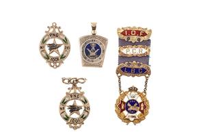 Four Fraternal Gold Pins & Pendants