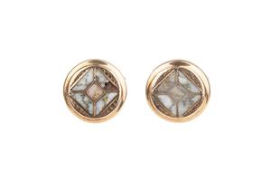 Pair of Gold & Gold Quartz Pins / Cuff Links