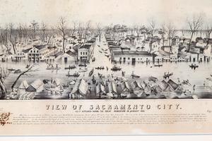 Birds-Eye View of Sacramento City,1850