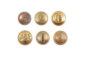 Confederate Coat Buttons, Six Originals