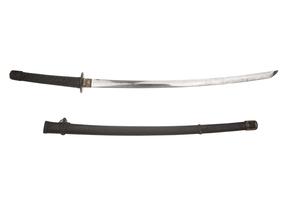 Replica Japanese Samurai Sword, with black mounts and bindings
