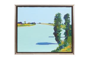 "Gregory Kondos (1923-2021) Painting ""Levee Trees, Sacramento River"" 1980"