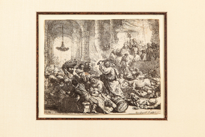 """Rembrandt Harmensz van Rijn (1606-1669) Etching, """"Christ Driving the Money Changers from the Temple"""""""