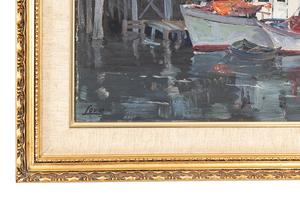 "Ralph Love (1907-1992) Painting, ""Monterey Bay Docks"""