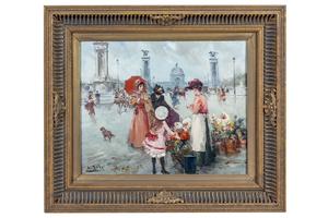 "Juan Soler (1941-1984) Painting, ""La Fleuriste"""