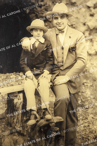 Framed Vintage Half-tone Print of Al Capone and Sonny Capone