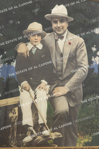 Vintage Hand Colored Silver Print of Al Capone and Sonny Capone
