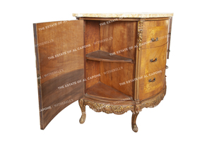 Al and Mae Capone's Marble Top Louis XVI Revival Demilune Cabinet