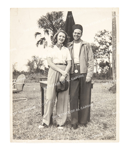 Vintage Silver Gelatin Print Photograph of Sonny and Casey Capone in Shooting Clothes