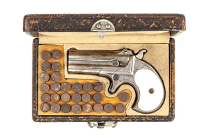 Cased Factory Engraved Remington Two Barrel Derringer