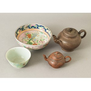 Two Chinese Yixing Teapots and Two Famille Rose Bowls