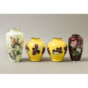Four Cloisonne Japanese Vases, Mid 20th Century