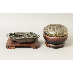 Japanese Bronze Censer and Mixed Metal Bowls