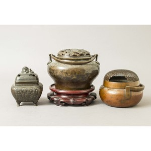 Two Chinese Bronze Hand Warmers and Censer