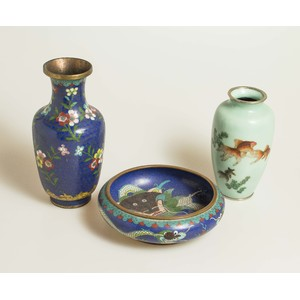 Asian Cloisonne Vases and Bowl