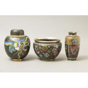 Three Asian Cloisonne Pieces