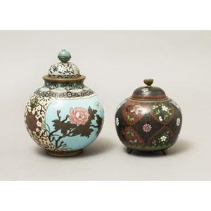 Two Japanese Cloisonne Lidded Jars