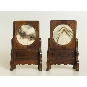 Pair Chinese Marble Panel Inset Screens