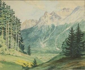 Christian Jorgensen (1860-1935) Watercolor Landscape