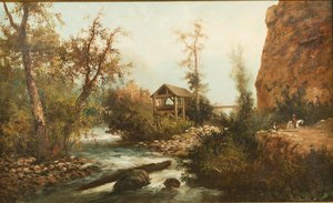 Landscape Painting, attrib. Toby Rosenthal