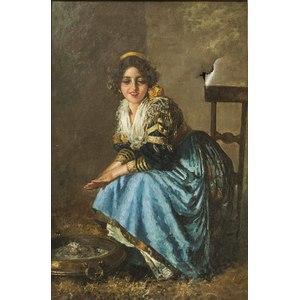 19th C European Painting Gypsy Girl